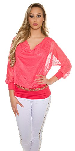 Extravagantes Party-Shirt im Under-/Over-Style Coral