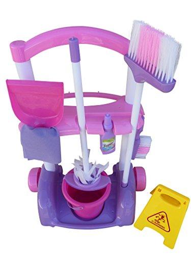 Spielzeug Putz Set, A108, 10 tlg. Set mit Putzwagen, Müllbeutel, Fensterputzer, Eimer, Bürste und Reiniger - für kleine Putzfeen. Mama spielend helfen, Geschenk-idee für Jungen und Mädchen für Weihnachten und zum Geburtstag, Geburtstags-Geschenk