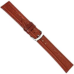 "Uhrbanddealer 20mm Ersatzband Uhrenarmband "" Nuevo "" Kalb Leder Band Hell Braun, mit feinem Wulst 096520s"