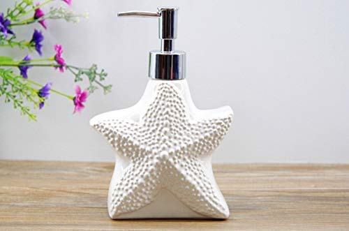 Willsego Badezimmer-Zubehör WC-Bad Schöne Keramik Emulsion Flasche Serie Nette Marine Lotion Flasche Hotel Liefert Unterer Block Flüssigseife Spenderflasche, E (Farbe : W)