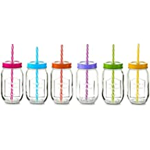 Zeller 99627 – Vaso con Pajita Color Lid, Juego de 6, Cristal, 26