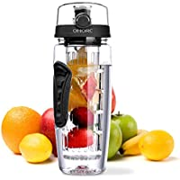 Fruit Infuser Water Bottle, OMORC 1 Litre Leakproof Sport Water Bottle BPA Free Large Capacity with Cleaning Brush Fruit Recipe for Outdoor Hiking Camping Climbing Traveling School Gift Office Home