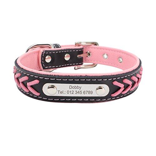 7Morning Leder Hundehalsband Hundemarke mit Personalisiert Edelstahlplatte,Rosa,S