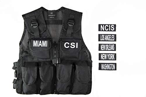 SWAT Kostüm Polizei Officer Agent Militär Armee taktische Weste für Kinder Jungen Frauen Navy CIS Verkleidung Kampf-Einsatzweste Qualitätsware 7 Abzeichen (Für Polizei Kostüm Männer)