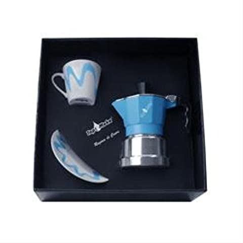 Top Moka Stove Top 1 Cup Coffee Espresso 1 Saucer Box Set Light Blue Silver