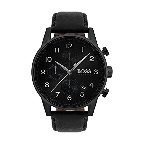 Hugo Boss Men's Time Only Watch with Black Leather Strap