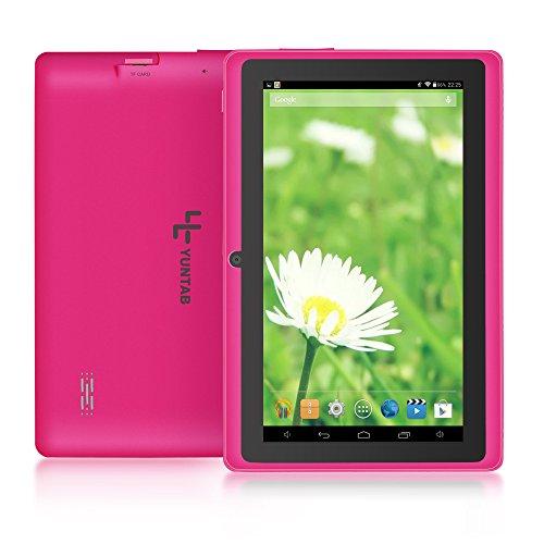 droid 4.4 Google Tablet PC,HD 1024x600 Multi-Touch-Bildschirm, 8GB Quad-core Dual Kamera Capacitive Touch Screen, Allwinner A33 DDR3 1.5GHz 512MB,Google Play Vorinstalliert,WLAN,3D Spiel unterstützt,Rosa ()