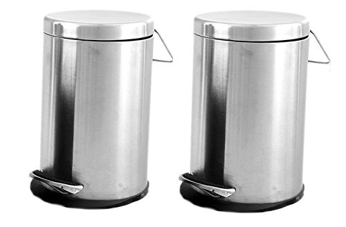 King International Stainless Steel 5L Plain Pedal Dustbin(KI-CCVVGFF-001, Plain) – Set of 2