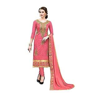 Blissta Women's Dress Material (MDSLVN6005Red_Light Red_Onesize_Light Red_OneSize)
