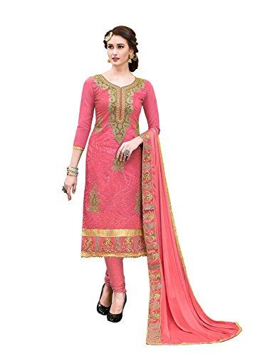 Blissta Women's Red Chanderi Embroidred hand work Salwar kameez Material