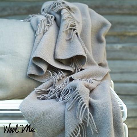 Manta de lana merina en color marrón topo modelo Simone
