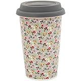 "Krasilnikoff Thermobecher ""Travel Mug"" Coffee to Go Becher Mille Fleurs Grau Blumen grau"