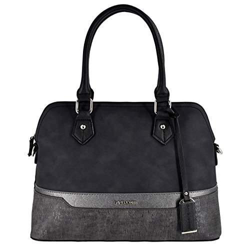 David Jones - Damen Handtasche - Bugatti Tasche - Nubuk Paillette Saffiano Leder - Multicolor Frau Tasche - Henkeltasche - Schultertasche - Stilvoll Elegant Bowling City Bag - Schwarz