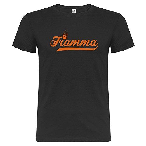 Bikerella T-shirt manica corta Unisex Fiamma by Nero/Arancione