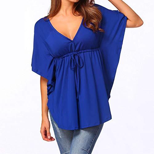 IMJONO Damen Sommer Kurzarm T-Shirt V-Ausschnitt mit Schnürung Vorne Oberteil Tops Bluse Shirt(EU-38/CN-L,Blau)