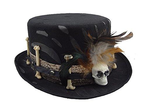 Preisvergleich Produktbild Hut Schwarz mit Totenkopf und Knochen, Federn Halloween Karneval