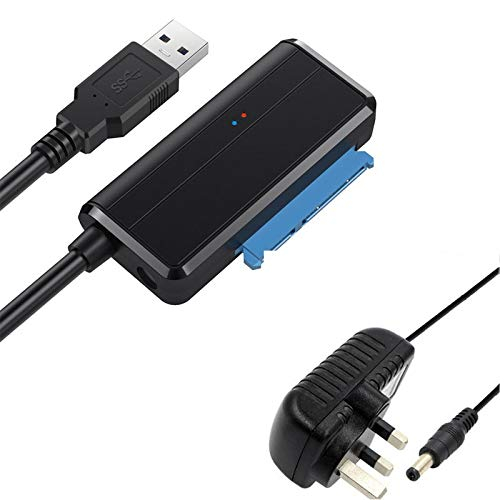 Yuyitec USB-zu-SATA-Adapter, USB auf 2,5/3,5 HDD SSD Kabel Festplattenleser, externer USB 3.0 Docking Station Gehäuse Caddy, HDD zu SSD SATA Adapter Konverter, UASP Unterstützt, mit 12 V 2A Netzteil