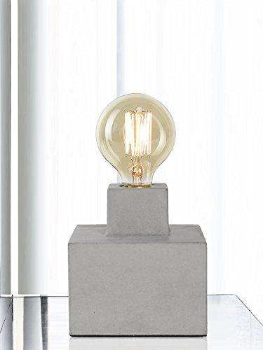 Tischlampe Schreibtischlampe Glühlampe Retro Vintage Antike für Schlafzimmer Zement Sockel Mit 40W Birne Grau -