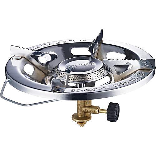 Hornillo fogón a gas portátil para cocinar en camping o exteriores. Hornillo de hierro (acero) + revestimiento de cromo para cocinar a gas butano/propano. Marcado CE, Certificación TÜV - Nuevo en AMZ