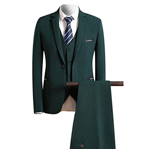 Herren 3-Teilig Slim Fit Sakko für Hochzeit und Freizeit Anzug von Allthemen Dunkelgrün Large