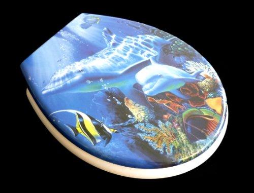 ADOB Duroplast WC Sitz Klobrille Modell Delphin mit Absenkautomatik, zur Reinigung abnehmbar, 59844