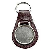 Capricornone Pack of Ten Burgundy Round Genuine Leather Keyrings with 27mm Medallion