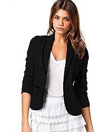 FINEJO Women's Slim Design Short Gray Blazer