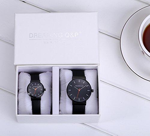DREAMING Q&P Unisex Analog Quarz Paar Uhr mit Schwarz Echtleder Armband WD260P