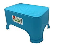 Click Home Design - Step Stool - Bright Beautiful Collection 35528 - 11.5 x 7.3 x 6.5 inches Blue
