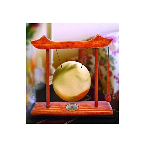 Gong pequeño con marco de madera de nogal, color marrón claro moneta. ZEN y FENG SHUI Japón