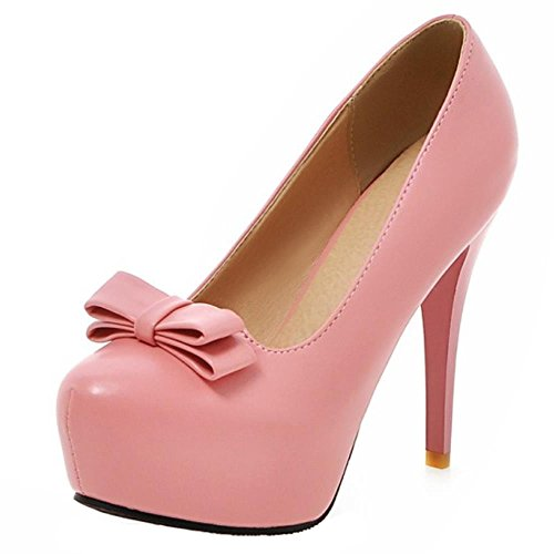 COOLCEPT Damen Stiletto Hohe Heels Sweet Slip On Skirts Pumps Extra Big Sizes mit Bow Pink