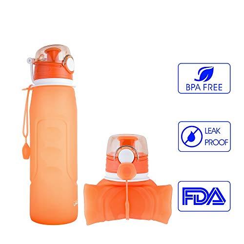iKiKin Faltbare Wasserflasche, Silikon Gel, Medical Grade, BPA frei, Leckproof Silikon Faltbare Sportflasche für Sport, Outdoor, Reisen, Camping, Picknick (1000ml 1L 35 oz ) (Orange)