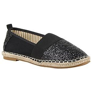 Stiefelparadies Damen Slippers Espadrilles mit Plateau Bast Glitzer Flandell