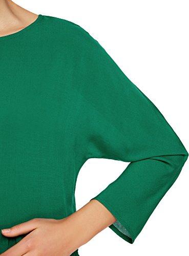 oodji Ultra Damen Viskose-Bluse mit Volants Grün (6E00N)