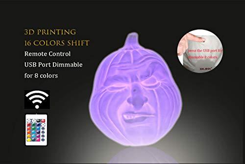 Halloween kürbis licht, 3d-drucken Jack o Lantern mit solarpanel strom usb-kabel port 16 farbe in kürbis licht
