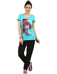 New Darling Womens Scuba Blue Top & Pyjama Set