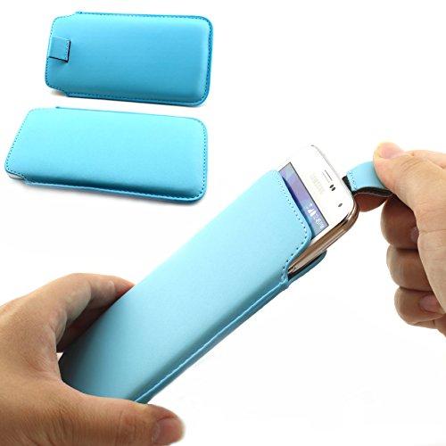Universal Schutz Tasche Slim Cover Pull Tab Hülle passend für Apple iPhone 6 /6s, Samsung Galaxy S7, S6, S6 edge, S5 und viel mehr … ScorpioCover hell blau