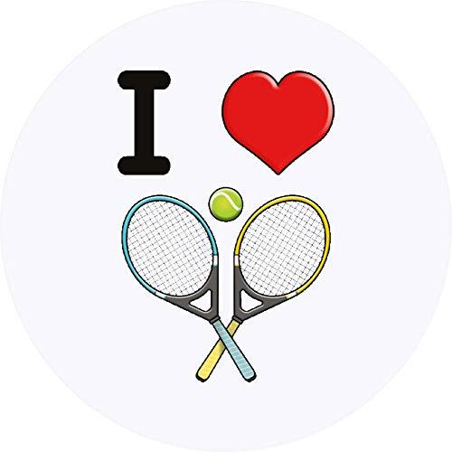 Azeeda 24 x 40mm Runden 'I Love Tennis' Aufklebern / Stickers (SK00000548)