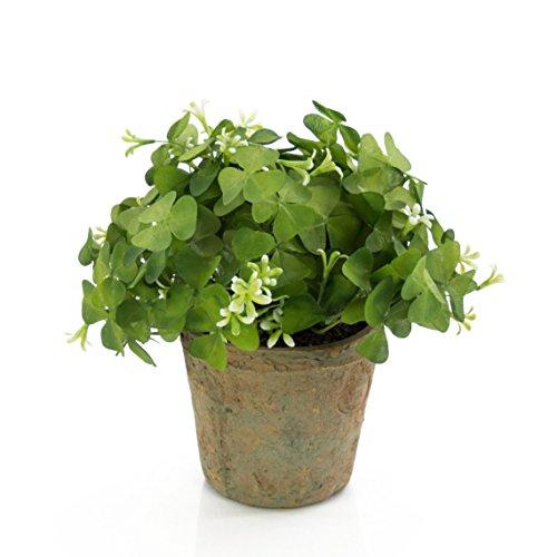 artplants - Künstlicher Klee Alois mit Blüten, im Terracotta Topf, weiß, 25 cm, Ø 20 cm- Deko Wiesenklee/Kunstpflanze getopft