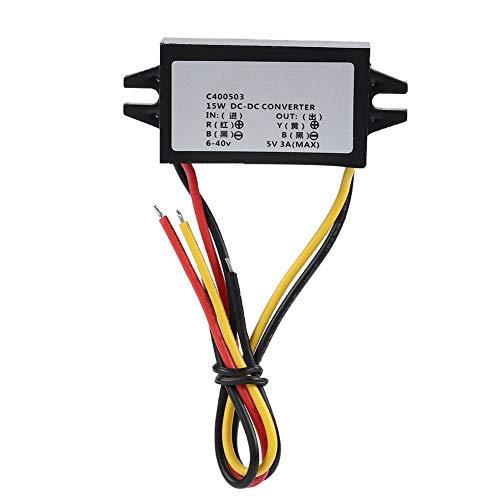 Convertisseur d'alimentation, 6-40V à 5V / 3A Convertisseur d'alimentation mâle CC pour véhicule Interver Pour Raspberry Pi/Phone/Navigator/Driving