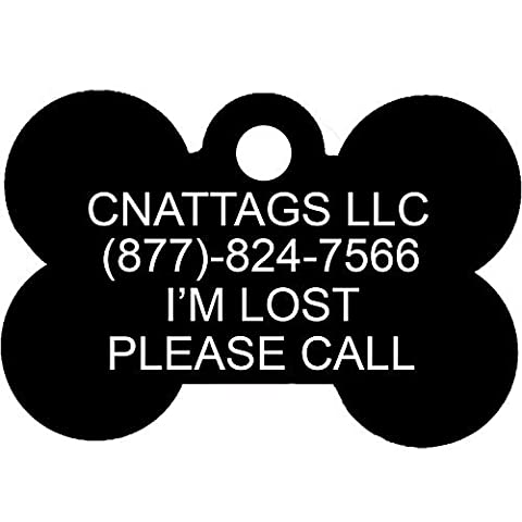 Black Bone Pet ID Tags | 7 Fonts to Choose | by CNATTAGS® (LIFE TIME WARRANTY)