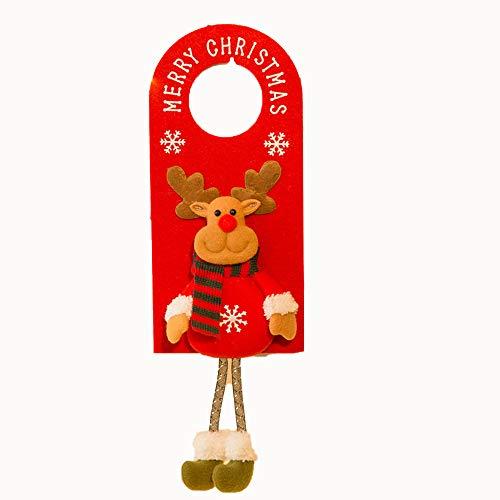 WWDKF Weihnachtsschmuck Santa Schneemann Elch Türgriff Anhänger Tür hängen Wand hängen Dekorationen Requisiten hängen,C