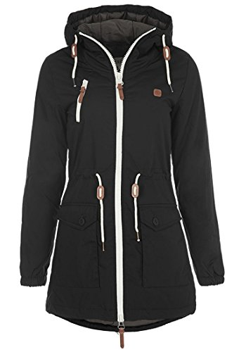 DESIRES Tilonga Damen Jacke Parka Long Mantel mit Kapuze Black (9000)