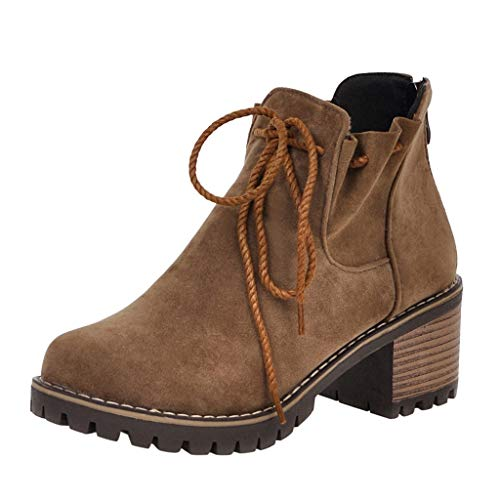 ZHANSANFM Kurz Stiefel Damen Runde Zehen Stiefeletten mit Blockabsatz Frauen Lace up Warm Ankle Boots Bequemer Elegant Wanderschuhe Chelsea Loafers Herbst Winter Freizeitschuhe (38 EU, Kaffee) -