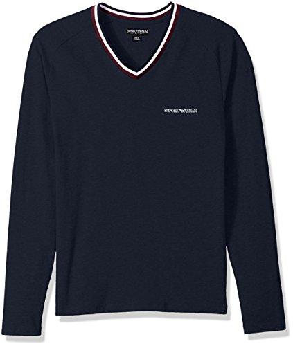 Emporio Armani Herren Langarm T-Shirt mit V-Ausschnitt 7A525 Blau