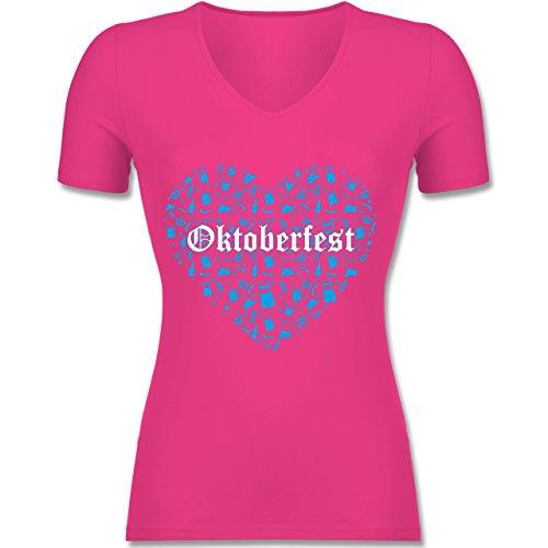 Oktoberfest Damen - Oktoberfest Herz - Tailliertes T-Shirt mit V-Ausschnitt für Frauen Fuchsia