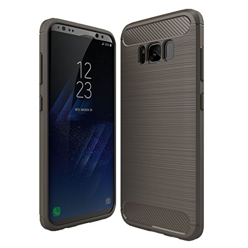 Hülle für Samsung Galaxy S8 Plus Brushed Carbondesign TPU Silikon Handyhülle in Blau von wortek Grau
