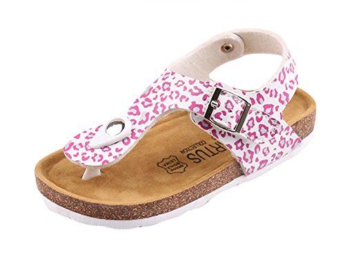 Insun Niñas Sandalias Suela Corcho Chanclas Impresión Zapatillas de Verano Playa Blanco 31 EU