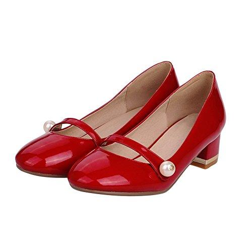 Pu Couro Sapatos Baixo Vermelho Voguezone009 Salto Bombas Puxar Toe Rodada Puro Senhoras pqnxxCtwO