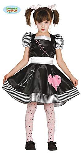 Guirca Halloween Kostüm Tote Puppe für Mädchen Puppenkostüm Kinderkostüm Mädchenkostüm Halloweenkostüm Gr. 110-146, Größe:128/134 (Halloween-kostüm Tote Kleine Mädchen)